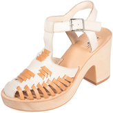 Miss L Fire White & Tan Juarez Caged Leather Sandal