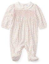 Ralph Lauren Floral-Print Smocked Footie Pajamas, Size Newborn-9 Months