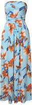 Liebeye Women Floral Sleeveless Empire Waist Strapless Beach Maxi Dress S