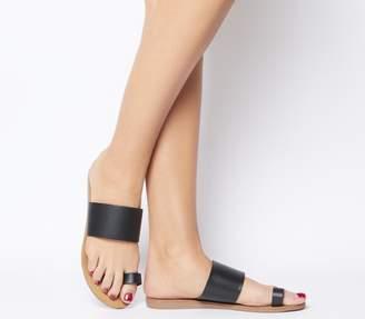 Office Scuba Toe Loop Sandals Black Leather Natural Sole