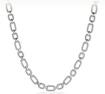 David Yurman Cushion Link Necklace With Diamonds, 12.5Mm