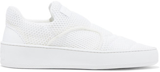 Sergio Rossi Tribute Leather-trimmed Mesh Slip-on Sneakers