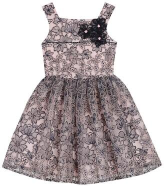Badgley Mischka Floral Embellished Mesh Dress