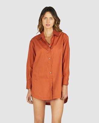 Chosen By Tuchuzy - Women's Orange Long Sleeve Shirts - Solly Shirt Dress - Size One Size, XS/S at The Iconic