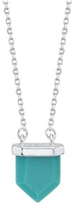 "Unwritten Fine Silver Plated Genuine Stone Pendant Necklace, 16""+2"" Extender"
