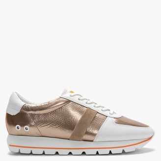 Kennel + Schmenger Groove White & Bronze Leather Lace Up Trainers