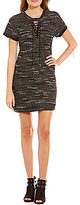 Jodi Kristopher Knit Lace-Up Neckline Sheath Dress