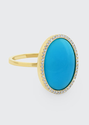 Jennifer Meyer One-of-a-Kind 18k Turquoise Oval Ring with Diamonds, Size 6.5