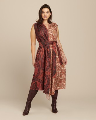 Adam Lippes Printed Silk Twill Asymmetrical Dress