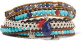 Chan Luu Leather And Silver Multi-stone Wrap Bracelet - Turquoise