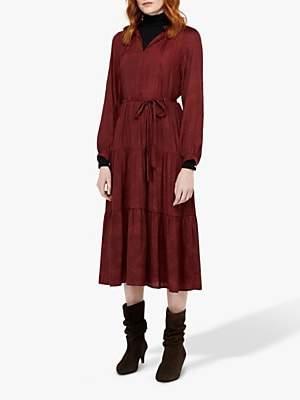 Monsoon Faye Tiered Satin Midi Dress, Berry