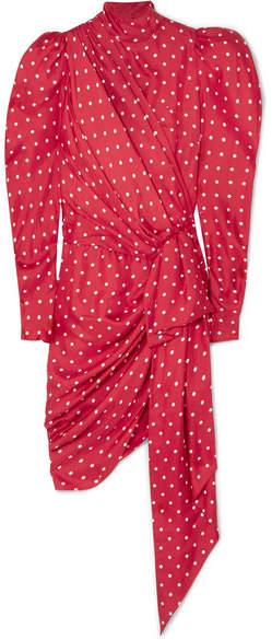 Alexandre Vauthier Asymmetric Polka-dot Silk-twill Mini Dress - Red