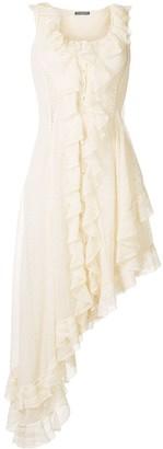 Alexander McQueen Silk Ruffle Asymmetric Dress