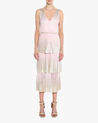 Marchesa V Neck Foil-Tiered Cocktail Dress