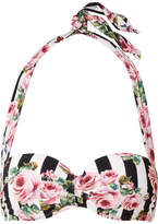 Dolce & Gabbana Floral-print Bandeu Bikini Top - Pastel pink