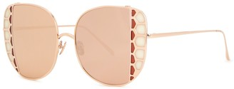 Linda Farrow Luxe Amelia mirrored oversized sunglasses