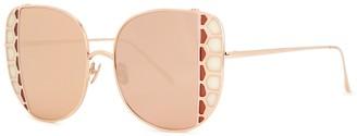 Linda Farrow Luxe Amelia Mirrored Oversized Sunglasses