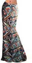 YC CY Womens Multicolored Printed High Waist Beach Dress Span Long Maxi Skirts