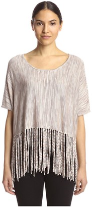 Minnie Rose Women's Broken Stripe Fringed Top