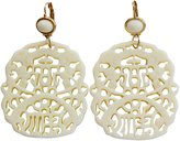 Kenneth Jay Lane Carved Statement Oriental Cream Off White Drop Earrings 7834EII