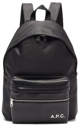 A.P.C. Camden Faux-leather And Canvas Backpack - Black