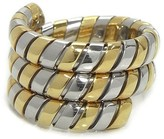Bulgari Tubogas 18k Yellow Gold and Stainless Steel Ring Size 6.5