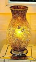 Mosaic Vase Table Lamp, Glass, Yellow