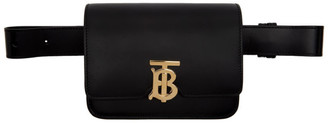 Burberry Black Leather TB Bum Bag
