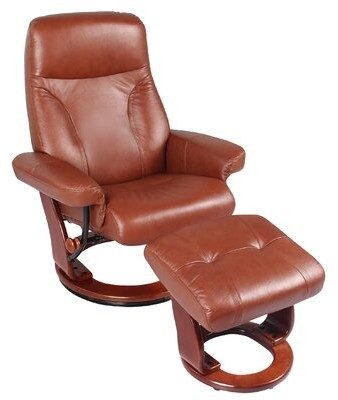 """Thumbnail for your product : Red Barrel Studio Melaniee 32"""" Wide Leather Match Manual Swivel Standard Recliner with Ottoman Upholstery Color: Cognac Brown Leather Match"""