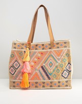 Seafolly Embroidered Folk Jute Bag