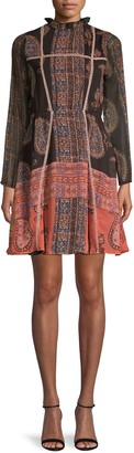 Raga Mockneck Paisley Mini Dress