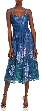 Marchesa Floral Embroidered Shirred Lace Cocktail Dress