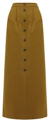 Jil Sander Brushed Cotton-twill Maxi Skirt - Womens - Tan