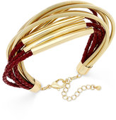 INC International Concepts Gold-Tone Leather and Coil Bracelet, Only at Macy's