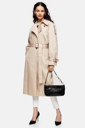 Topshop Womens Stone Editor Trench - Stone