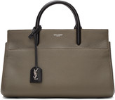 Saint Laurent Khaki & Black Small Rive Gauche Cabas Tote