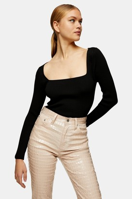 Topshop Black Square Open Back Knitted Top