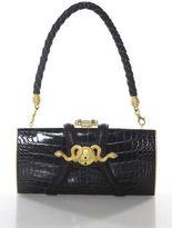 Rachel Zoe Design For Judith Leiber Brown Crocodile Single Strap Medusa Handbag