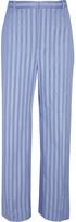 Balenciaga Striped Cotton-poplin Pants - Blue