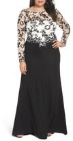 Tadashi Shoji Plus Size Women's Two-Tone Lace & Crepe Gown