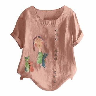 Lazzboy Women T-Shirt Tops Plus Size Loose Dandelion Print/Plain Short Sleeve Buttons Decor Short Sleeve Ladies Tee(S(10)