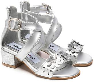 Rachel Girls' Sandals SILVER - Silver Matte Metallic Floral-Accent Crisscross Elise Sandal - Girls