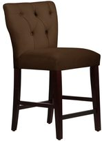 Skyline Furniture Tufted Hourglass Counter Stool in Velvet Chocolate