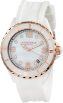 Akribos XXIV Women's AK502WTR Ceramic Case with Rose-tone Accents and White Rubber Strap Watch