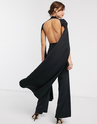 True Violet cape detail jumpsuit with open back in black