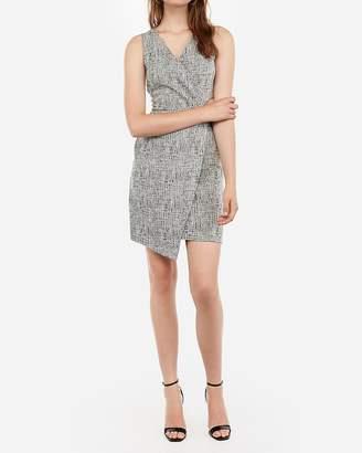 Express Jacquard Surplice Front Pleated Sheath Dress