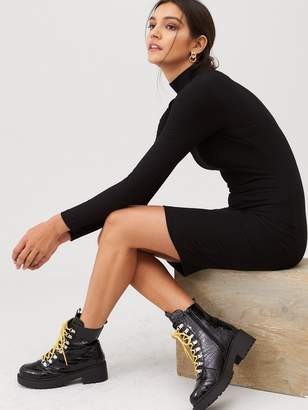 Very Ribbed High Neck Dress - Black