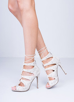 Missy Empire Klair White Snake Lace Up Heels