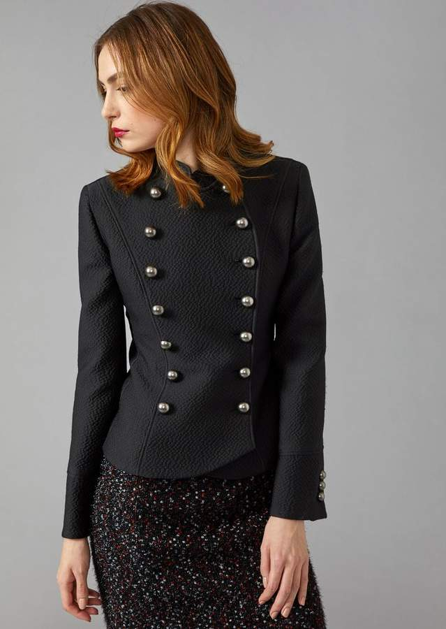 Giorgio Armani Double-Breasted Textured Jacket With Flared Hem