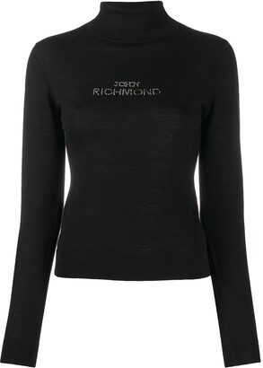 John Richmond Rhinestone Logo Roll Neck Jumper